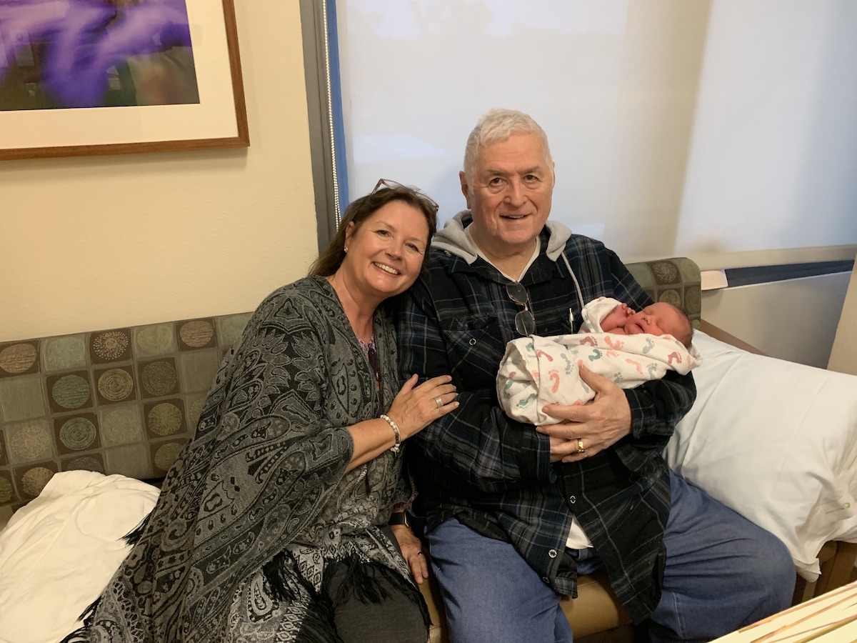 Great Grandpa Jim with Grandma [Daughter] Sarah with new Great Granddaughter Teagan Carey Bradley, Born April 30, 2019 in San Diego, CA. Teagan is an Irish female first name. It is derived from the name Teague (also pronounced 'Tea-gan') Teagan is the diminutive of the Irish tadhg meaning 'poet'. Teagan can also mean 'attractive', 'beautiful' and or 'perfect'.